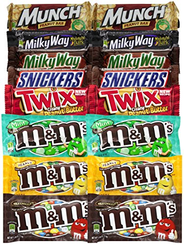 Easter Chocolate Candy Assortments M&M's, Milky Way, Twix, Snickers (Pack of 16)