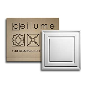 "Ceilume 12 pc Stratford Ultra-Thin Feather-Light 2x2 Lay in Ceiling Tiles - for Use in 1"" T-Bar Ceiling Grid - Drop Ceiling Tiles (White)"