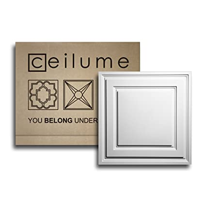 Ceilume 10 Pc Stratford Ultra Thin Feather Light 2x2 Lay In Ceiling Tiles