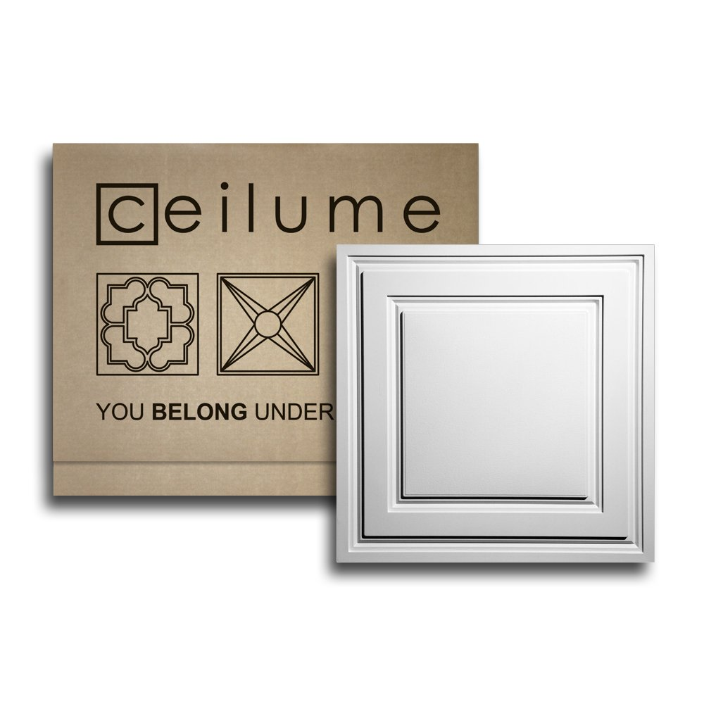 Ceilume 10 pc Stratford Ultra-Thin Feather-Light 2x2 Lay In Ceiling Tiles - For Use In 1'' T-Bar Ceiling Grid - Drop Ceiling Tiles (White)