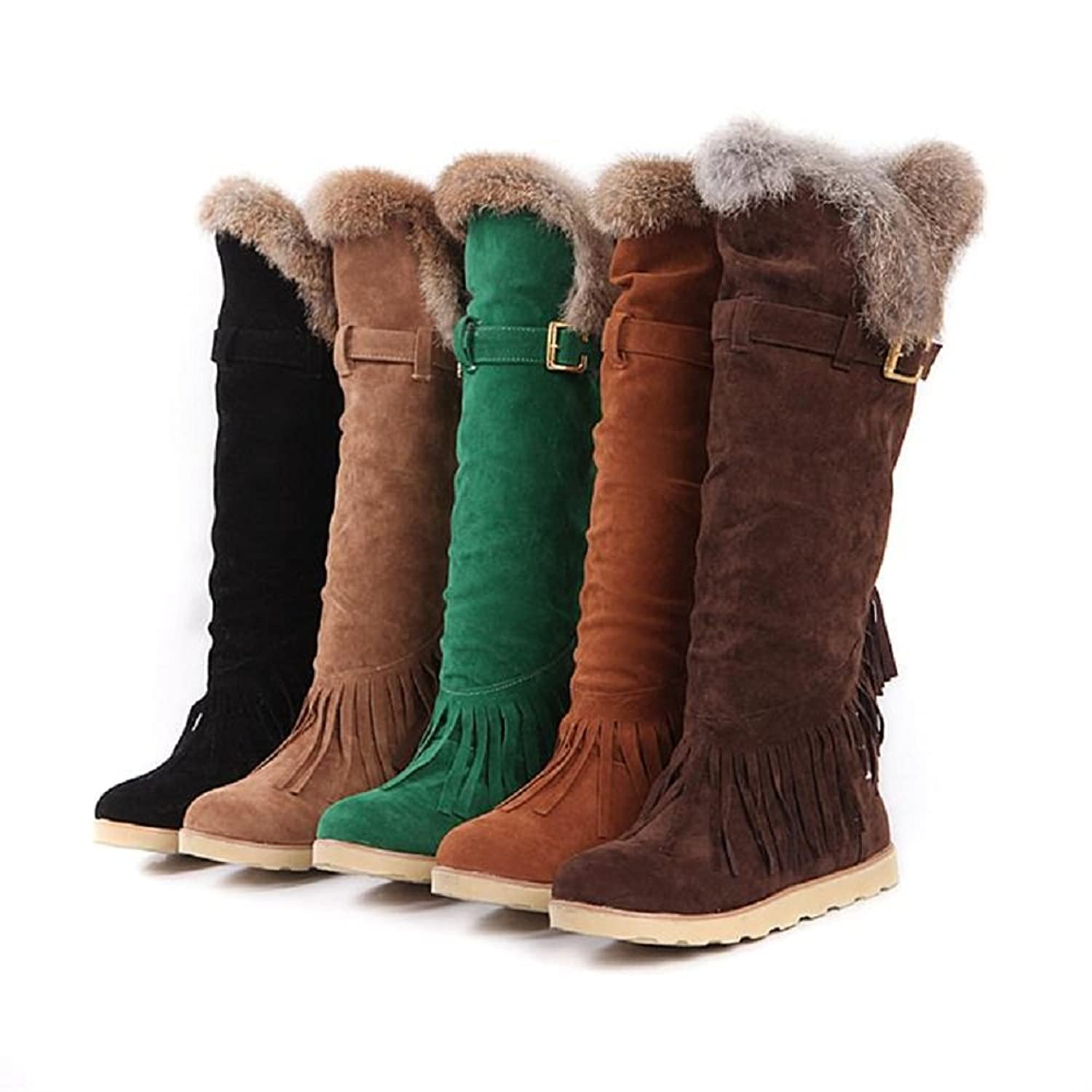 Amazon.com   Charm Foot Winter Fashion Tassels Womens Low Heel Snow Boots  Long Boots   Snow Boots