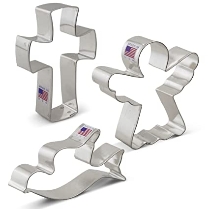 religious christmas cookie cutter set 3 piece angel cross and dove ann - Metal Christmas Cookie Cutters
