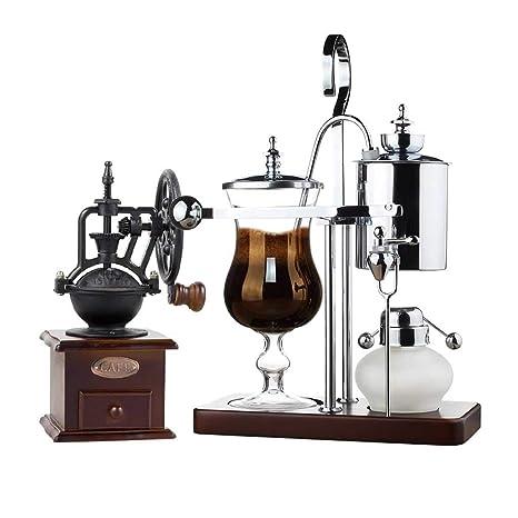 YTS Coffee Pot Home Sifón de Acero Inoxidable Manual Máquina de café Grinder (Color :