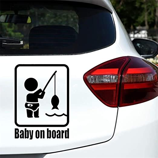 Funny Fishing Baby on Board Car Vehicle Reflective Decals Sticker Decoration for Body Wall Car Truck Window Helmet Motorcycle Party Decoration Black xxiaoTHAWxe Car Sticker Accessories Sticker