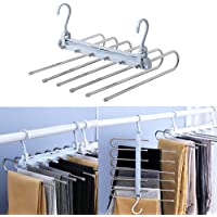 OUEEGER Space Saving Pants Hangers, Foldable 6 Layers Stainless Steel Jeans Organizer for Closet, Non-Slip 6 in 1…