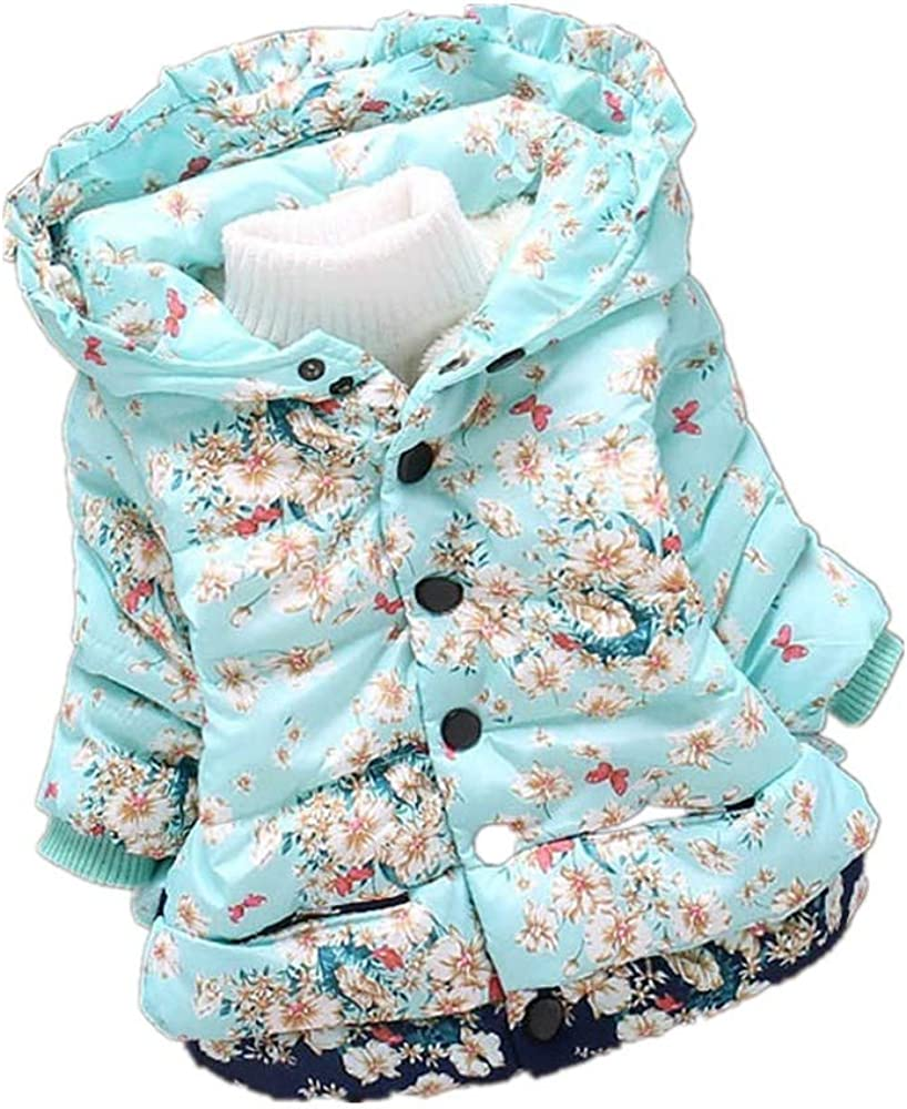 Theshy Toddler Baby Girl Boy Floral Print Winter Warm Jacket Hooded Windproof Coat Warm Jacket Winter Coat for Baby Girl