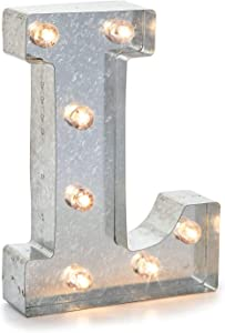 "Darice 5915-713 Silver Metal Marquee Letter – L - 9.87"" Tall, Galvanized Silver Finish"