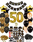 Dharma Creations 50th BIRTHDAY DECORATIONS COMPLETE PACKAGE PARTY SUPPLIES FOR MEN WOMEN INCLUDES //CAKE TOPPER//CONFETTI//32 LATEX BALLOONS// 26 PHOTO BOOTH PROPS// & MORE!