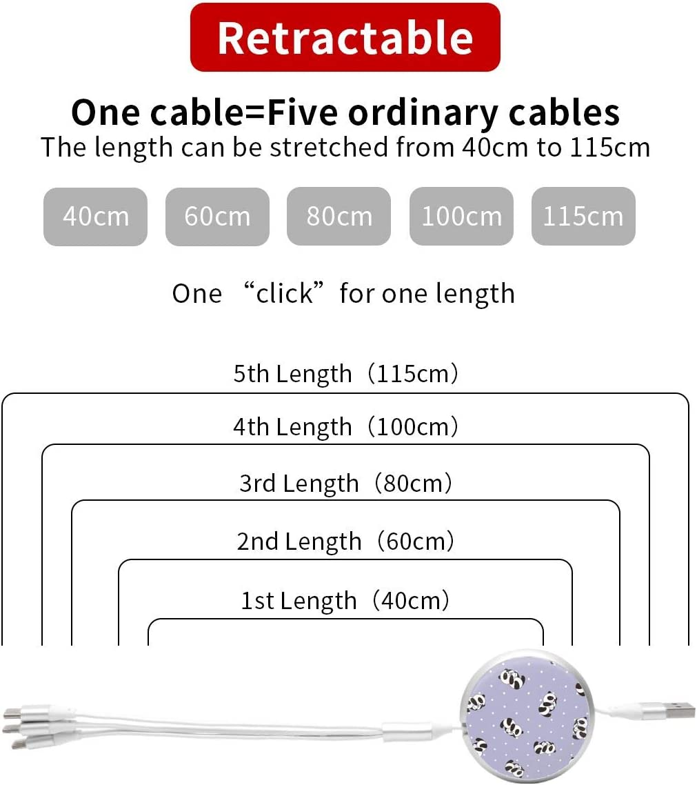 Cute Panda 3 in 1 USB Multi Function Charging Cable Data Transmission USB Cable for Mobile Phones and Tablets Compatible with Various Models with Storage Bag