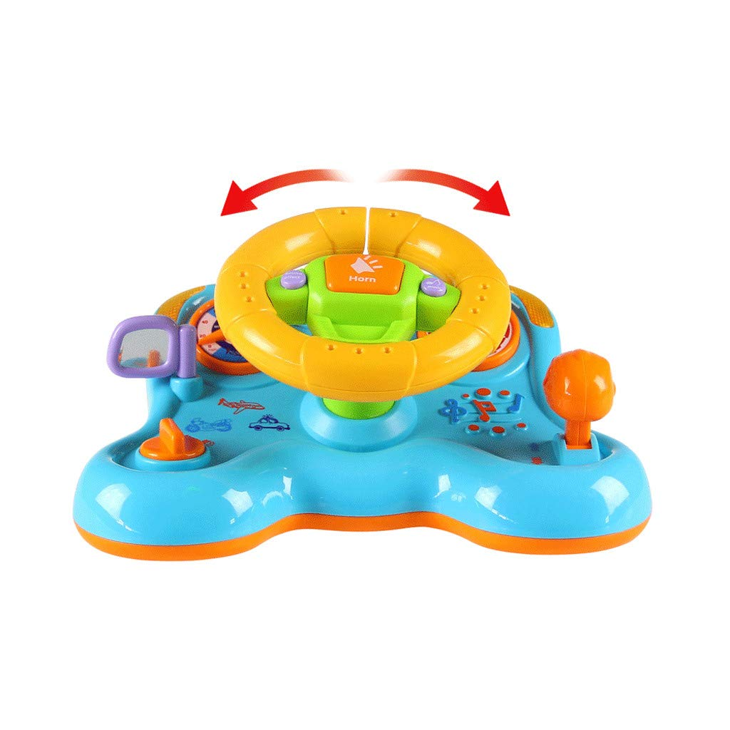 Hellofishly Steering Wheel Toy,Children's Educational Sounding Toy Cars Simulated Driving Steering Wheel,Electric Musical Pretend Play Toy