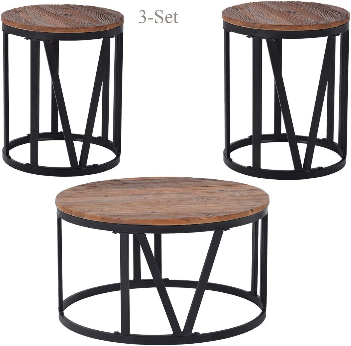 Amazon Com Wood Coffee Table Set 3 Piece Rustic Round Coffee