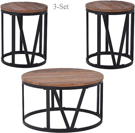 Amazon Com Wood Coffee Table Set 3 Piece Rustic Round Coffee