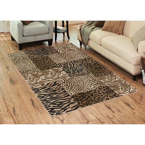 D&H 5' X 7' Multi Color Patchwork Zebra Printed Area Rug, Indoor Exotic Animal Printed Safari Themed Bedroom Living Room Rectangle Carpet, Large Flooring Mat Light Brown Dark Brown Black, Olefin