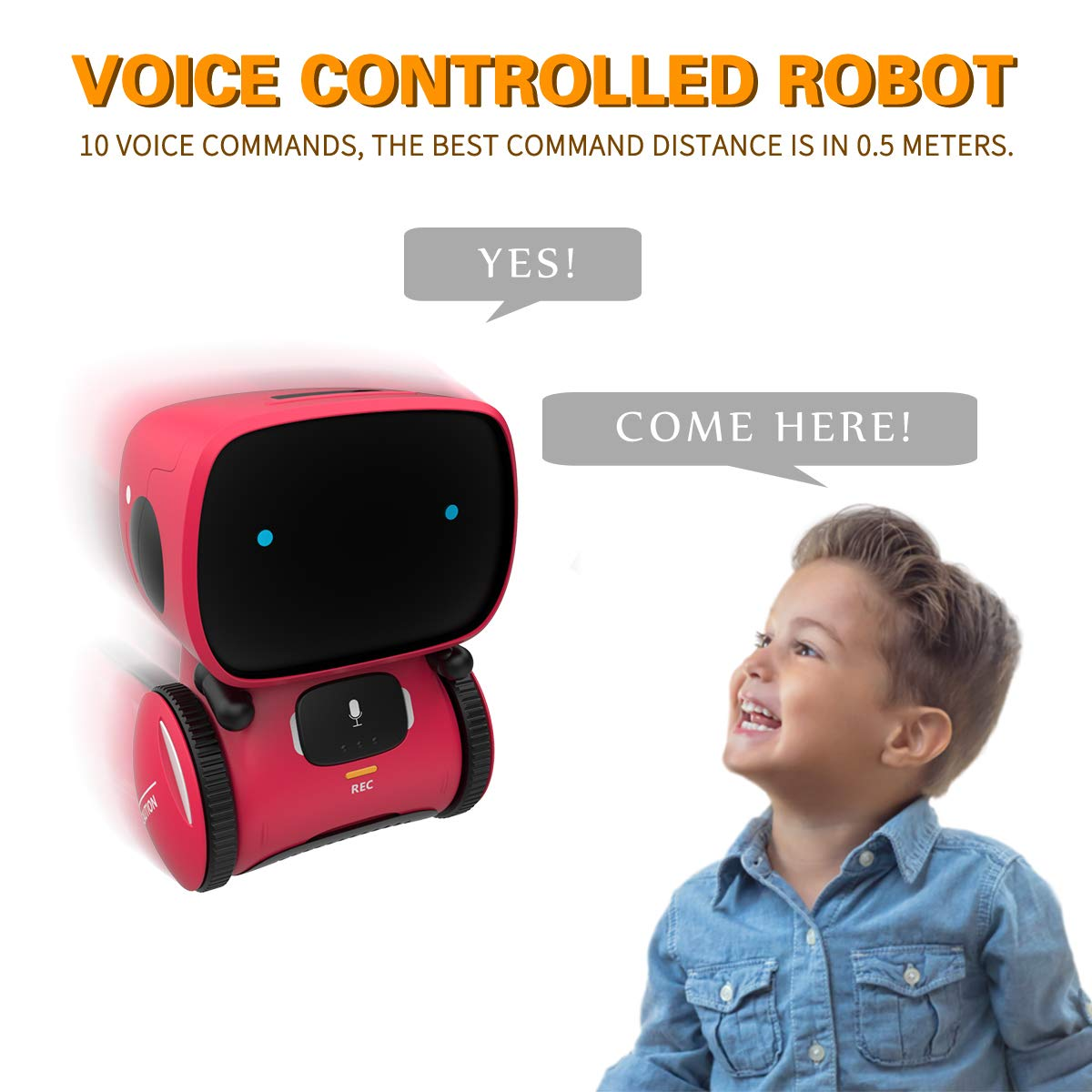 98K Kids Robot Toy, Smart Talking Robots, Gift for Boys and Girls Age 3+, Intelligent Partner and Teacher, with Voice Controlled and Touch Sensor, Singing, Dancing, Repeating by 98K (Image #3)