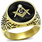ISADY - Mateo Gold - Men's Ring - Cubic Zirconia - Email Black
