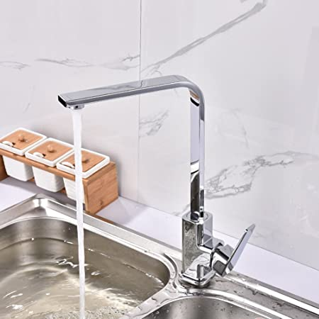 Beau Hot And Cold Kitchen Faucet Seven Word Flat Tube 360°Rotation Copper Kitchen  Faucets