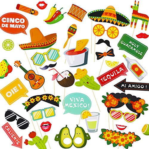 (Mexican Fiesta Photo Booth Props (44Pcs),Perfect for Mexican Birthday Wedding Bachelorette Fiesta Themed Party, Mexican Fiesta Party Favor Supplies)