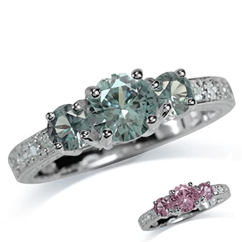 Silvershake 3 Stones Simulated Color Change Alexandrite White Gold Plated 925 Sterling Silver Ring