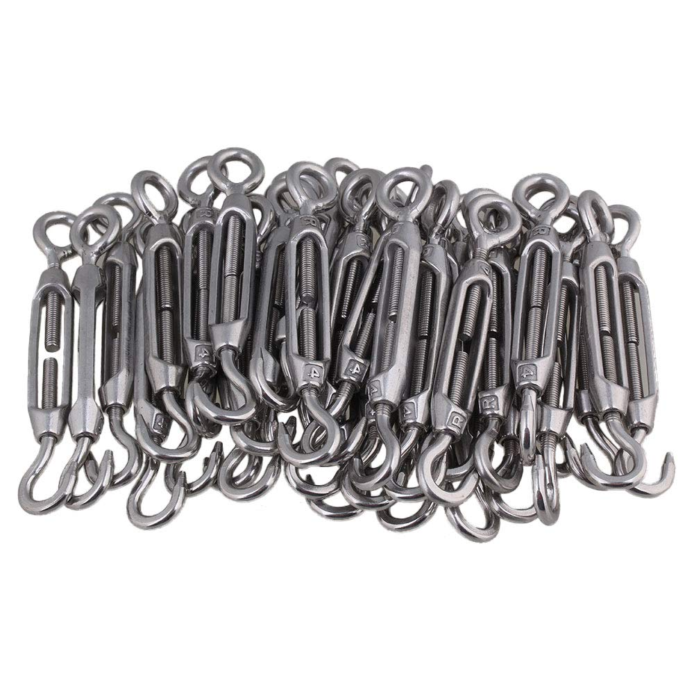 50PCS European Style 304 Stainless Steel OC Type Open Garland Rigging M4 Hook Rope Connector Prevents Corrosion