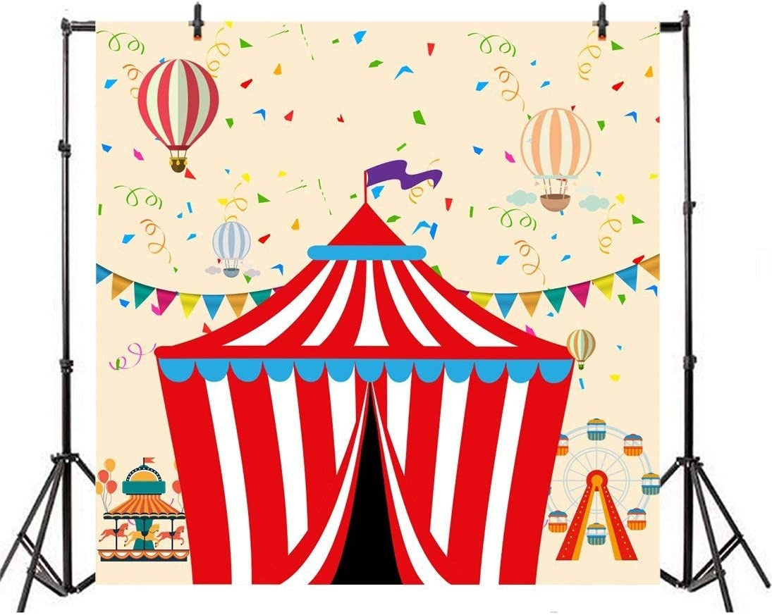 GoEoo 10x10ft Red Stripe Tent Backdrop Hot Air Balloons Ferris Wheel Kids Funfair Carnival Background Circus Birthday Party Backdrops for Photography Videos YouTube Photo Studio Props