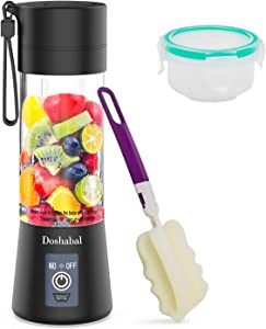 Doshabal Portable Blender, Personal Mixer Fruit Rechargeable with USB, Mini Blender for Smoothie, Fruit Juice(Black)