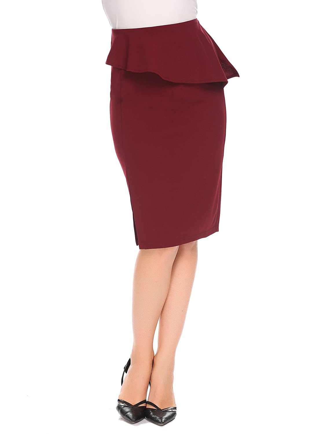 b6e337d3a2 Womens Midi Pencil Skirt Red Elastic High Waist Knee Length Slim Bodycon  Slit Office Skirts at Amazon Women's Clothing store: