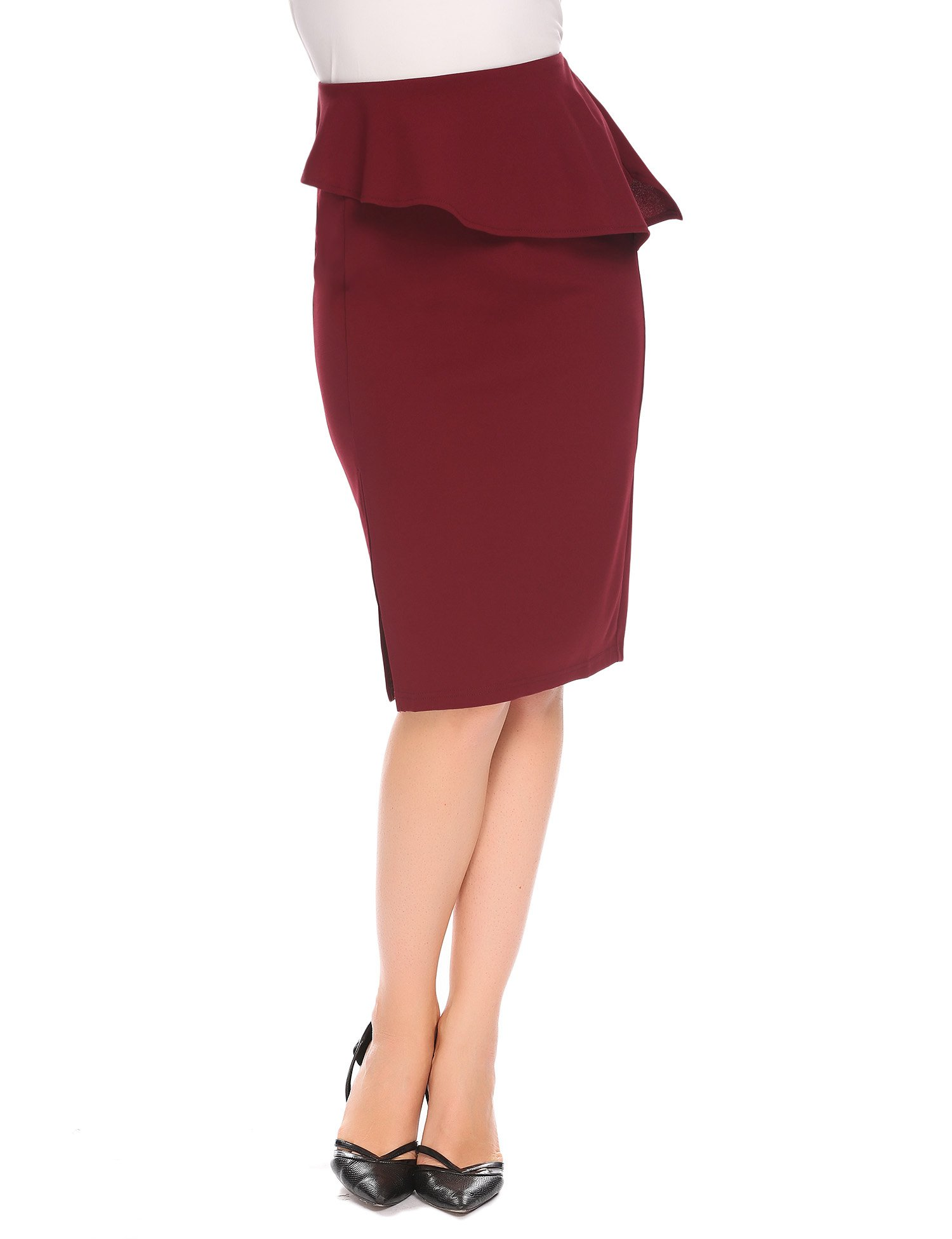 Womens Midi Pencil Skirt Red Elastic High Waist Knee Length Slim Bodycon Slit Office Skirts