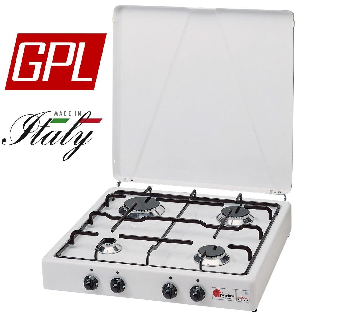 Gaskocher Parker Stromversorgung Gas Flüssiggas (Propan) mit 4 flammig Farbe Weiß und Schwarz – für Verwendung Outdoor -