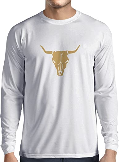 lepni.me Camiseta de Manga Larga para Hombre Cráneo de Toro - Ideas de Regalos Divertidos para Cazadores, Tiradores, Vaqueros: Amazon.es: Ropa y accesorios