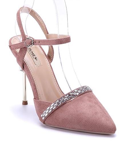 Schuhtempel24 Damen Schuhe Sandaletten Sandalen Stiletto Ziersteine 8 cm
