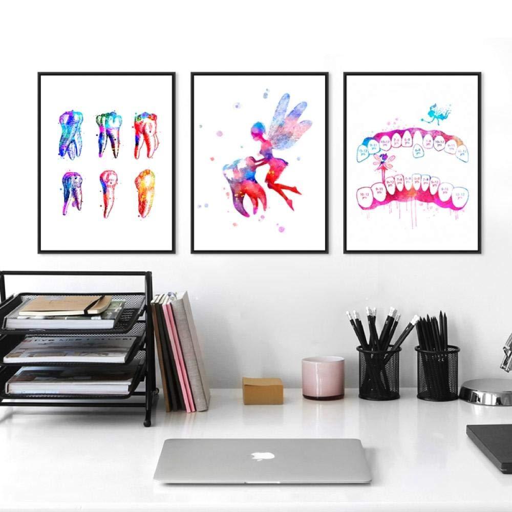 50x70cmx3 // No Frame CNHNWJ Denti Stampa Anatomica ad Acquerello e Poster Odontoiatria Arte Medica Pittura su Tela Dentista Ufficio Clinica Wall Art Picture Decor