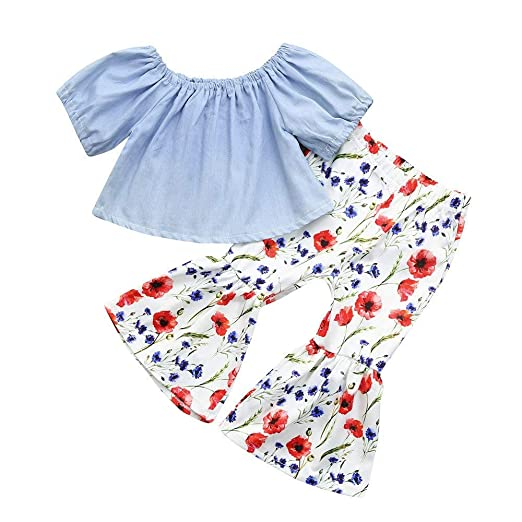e54c127184b Amazon.com  SMALLE Clearance Toddler Kids Baby Girls Cotton Off Shoulder  Tops+Floral Printed Pants Set Outfits 2Pcs  Clothing