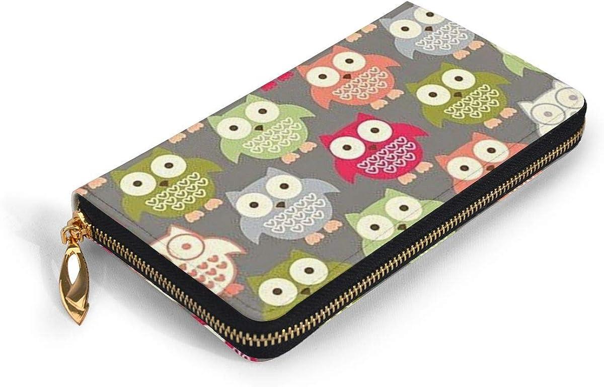 Cute Owl Wallets For Men Women Long Leather Checkbook Card Holder Purse Zipper Buckle Elegant Clutch Ladies Coin Purse