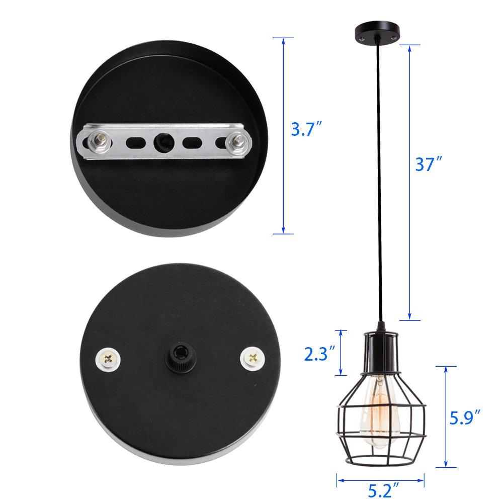 Veesee E26 Hanging Adjustable Industrial Lighting Fixtures,Vintage Ceiling Pendant Lamp Cage Holders,Edison Bulb Metal Chandelier Drop Light for Kitchen Island Restaurant Coffee(Black) by Veesee (Image #4)