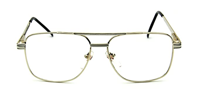 b25a4a643f2 Retro Aviator Clear Lens Eyeglasses Super Vintage Classic Nickel Metal Frame  (Gold + Silver Square