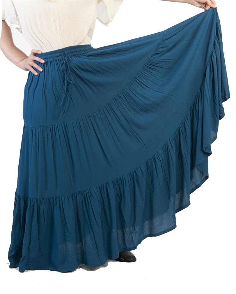 Women's Romantic Renaissance 3-Tier Teal Ruffled Peasant Skirt - DeluxeAdultCostumes.com