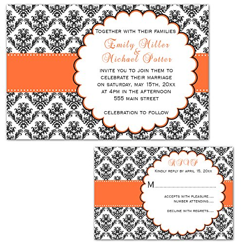 (100 Wedding Invitations Orange Black Design + Envelopes + Response Cards Set)