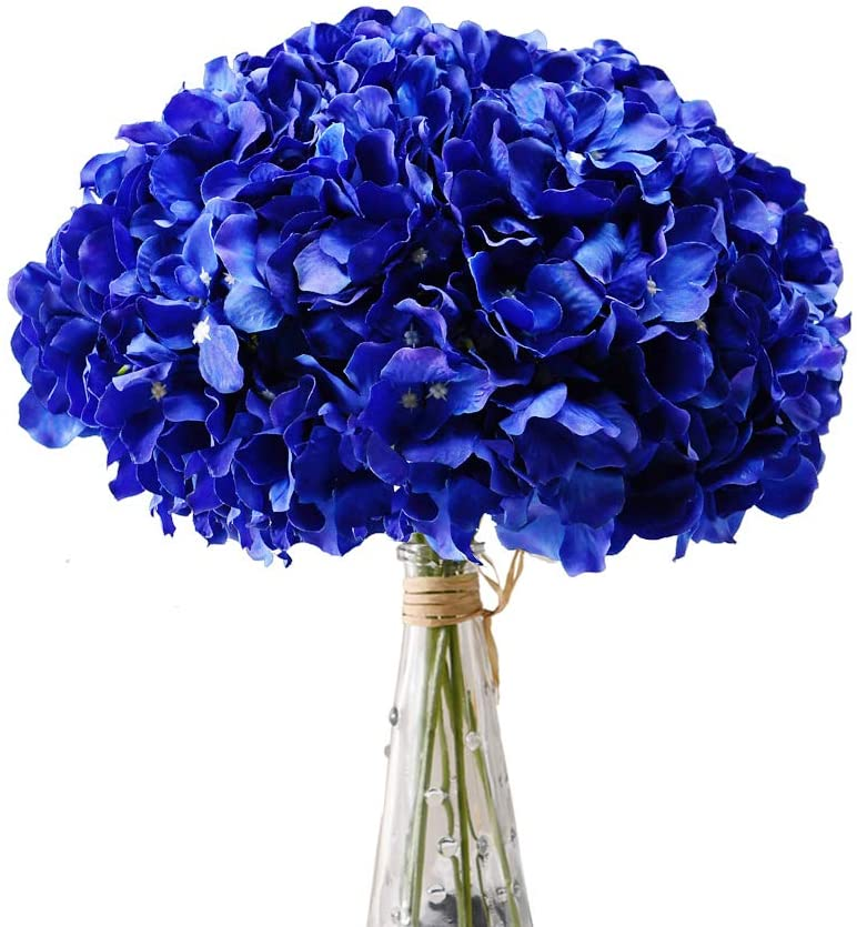 Aviviho Royal Blue Hydrangea Silk Flowers Heads with Stems Pack of 10 Full Hydrangea Flowers Artificial for Wedding Home Party Shop Baby Shower Decoration