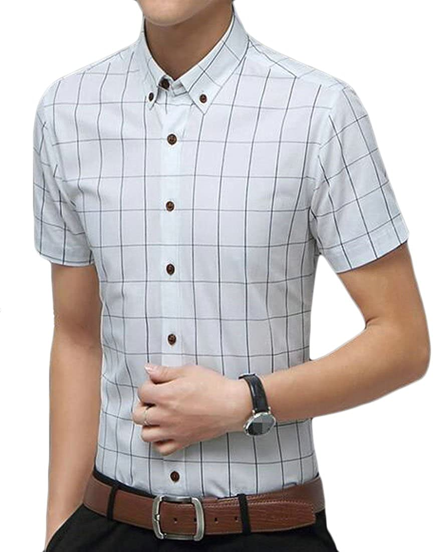 Sweatwater Mens Button Front Short Sleeve Plaid Casual Juniors Slim Shirts