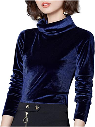 Womens Stretchy Turtleneck Long Sleeve Velvet Basic T-Shirt Top
