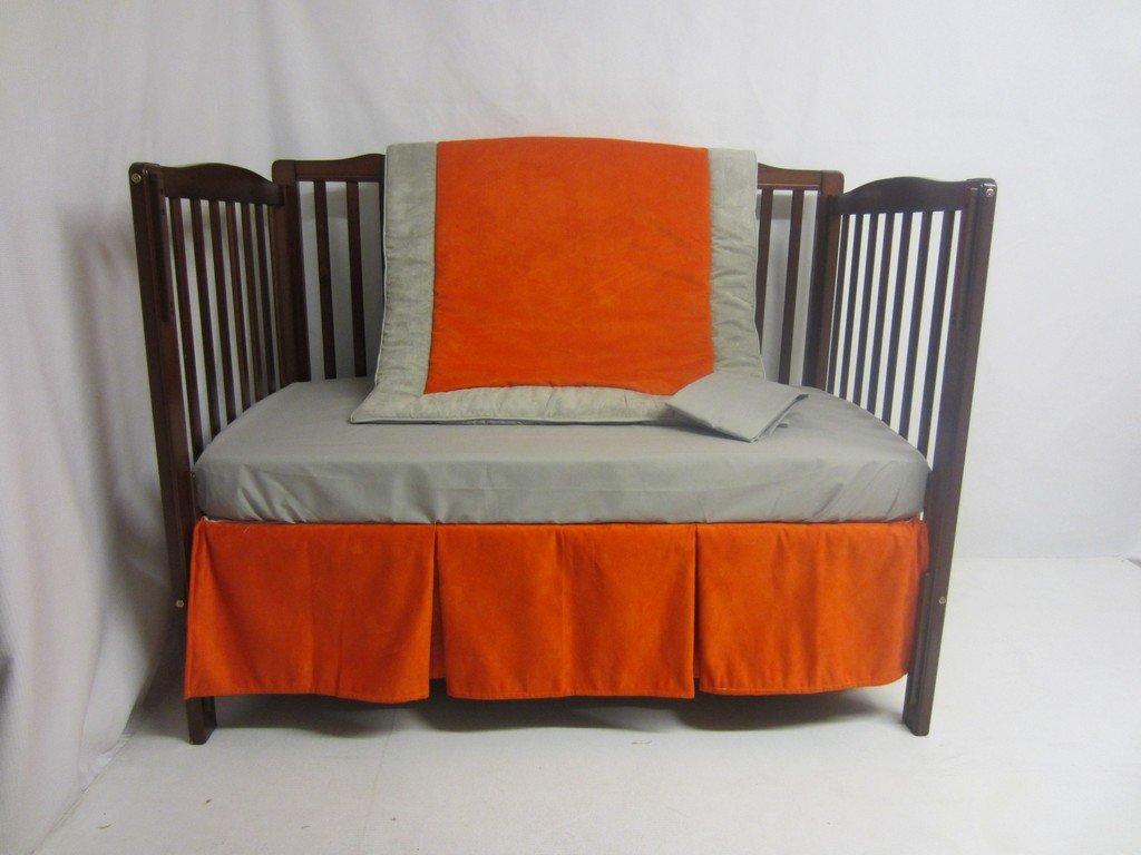 Baby Doll Bedding Zuma 4 Piece Crib Bedding Set, Grey/Pumpkin by BabyDoll Bedding   B0099NYW80