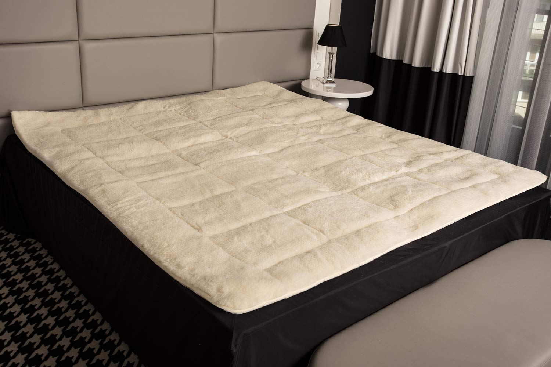 Mayaadi-Home Matratzenauflage Lammflor 100% Merino-Schafschurwolle Natur-Topper 160x200 Beige-Weiß