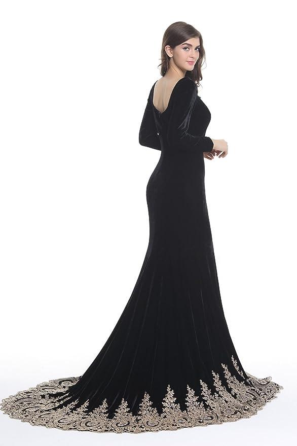 Amazon.com: Kings Love Womens Rhinestone Lace Mermaid Velvet Long Sleeve Evening Dresses: Clothing