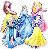 Jolly Jon Disney Princess BIRTHDAY PARTY Balloons - 5 XL Super Shape Decorations – Giant Size Belle Cinderella Elsa – Jumbo Snow White & Sleeping Beauty - Beautiful Balloon Bouquet Set