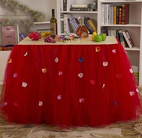 XUAN (80 cm * 91,5 cm) rojo púrpura de la mesa faldas boda Prop ...