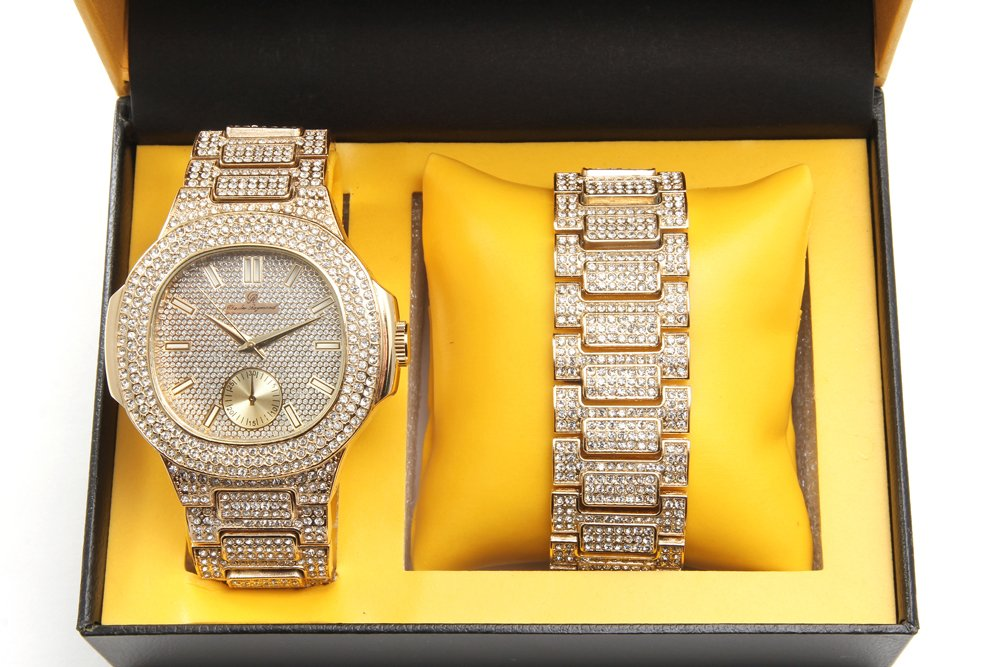 Bling-ed Out Oblong Case Metal Mens Watch w/Matching Bling-ed Out Bracelet Gift Set - 8475B - Gold/Gold