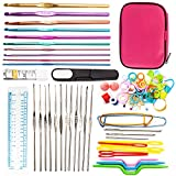 LoveStorY Crochet Hooks Set 100 Ergonomic Knitting Needle Kit Aluminum With Yarn Knitting Needles Sewing DIY Craft Tools With Case for Arthritic Hands Beginner
