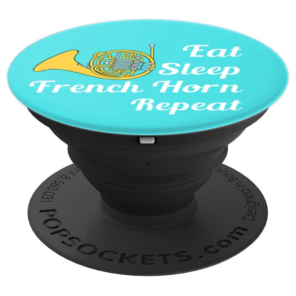 French Horn Player Gift Eat Sleep French Horn Repeat - Aqua - PopSockets Grip and Stand for Phones and Tablets