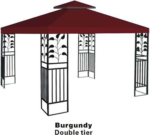 Fuerte camello doble nivel funda de recambio para 10 x10 Gazebo toldo superior Patio, Pavilion, parasol poliéster: Amazon.es: Jardín