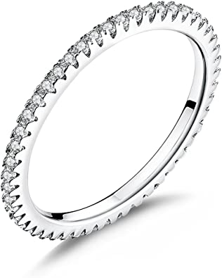 925 Sterling Silver CZ Designer Inspired Stackable Eternity Band Rings